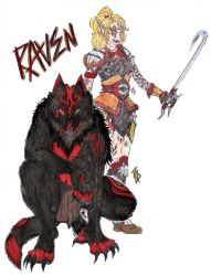 Raven III. Humanoid and Werewolf Form (Colour) by LanzTheDestroyer