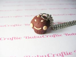 Kawaii Chocolate Muffin with Nuts Necklace by efeeha