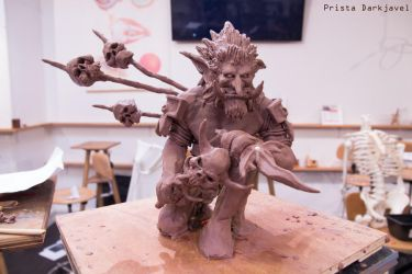troll sculpt in monster clay by Prista-Darkjavel