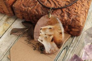 Together - hand painted pendant by LunarFerns