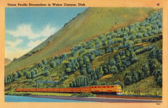 Vintage Utah - UP Streamliner In Weber Canyon by Yesterdays-Paper