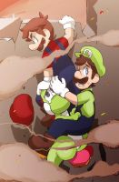 Mario and 2 green people. by Uroad7 by Uroad7