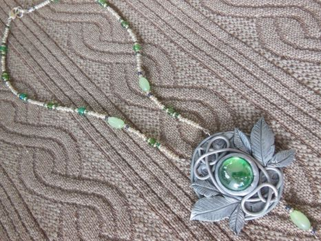 Vine leaf necklace, silver leaves, elven jewelry by Elvarinya