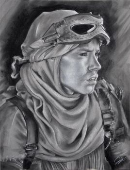 Rey Charcoal Drawing by JohnVitaleArt