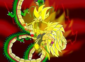 SSJ3 Kid Goku vs Super Sonic by gamefreak2008
