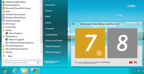 Windows 8 Start Menu Switcher by Ruanmei