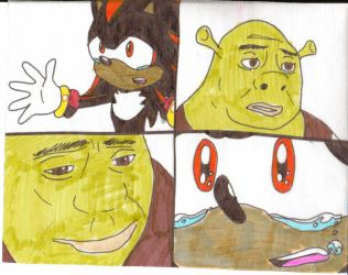 Shadow begs Shrek by cmara