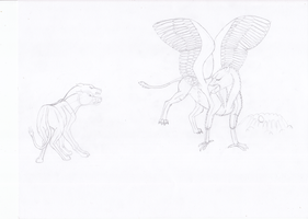 Gryphon and Orthrus - pencil drawing by horse14t