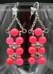 Earrings: pink and crystal by LissaMonster