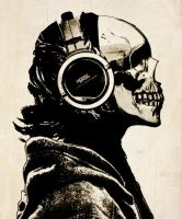 Skull and Headphones by hiddenmoves