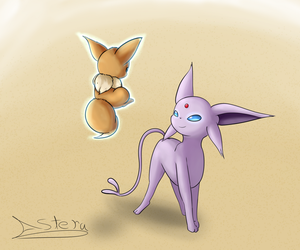 Espeon And Eevee (Friend Request) by JollyThinker