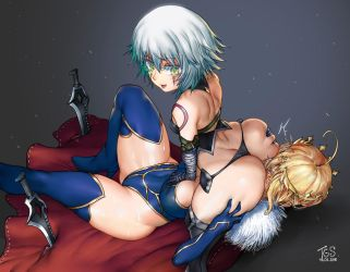 Jack and Lancer Artoria (Fate) by TheGoldenSmurf