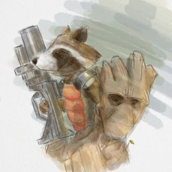 Rocket and Groot by electrikALIEN