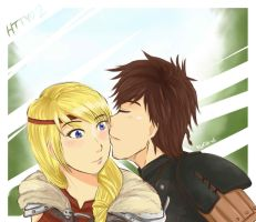 Hiccup and Astrid by Kuro-D