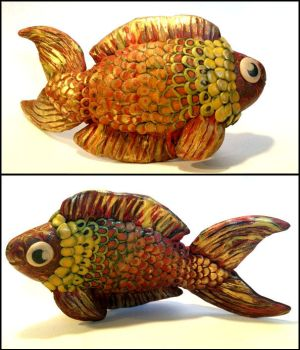 Golden Klimt Fish (Polymer Clay) by Melosyna