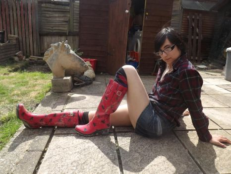 Trying On Wedge Wellies by CharDust