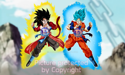 GokuXeno SSJ4 Vs Goku Capsule Corp Blue request by AL3X796