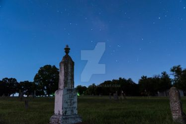 Tombstones in Graveyard with Starry Night Sky02 by stretchc