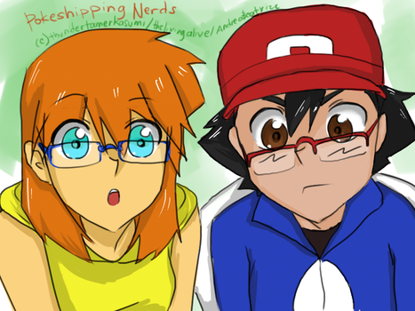 Ash and Misty in eyeglasses by thundertamerkasumi