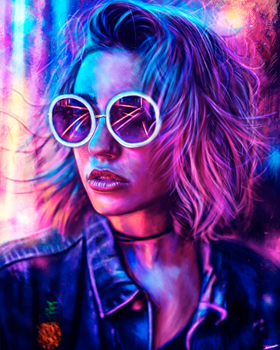Neon Madness/Portrait practice #2 by p1xer
