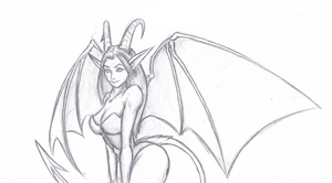 Succubus Drawing - Colored version coming! by Kangaroo-King