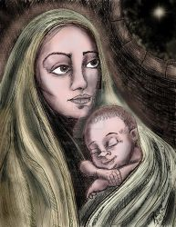 Mother and son by Rene-L