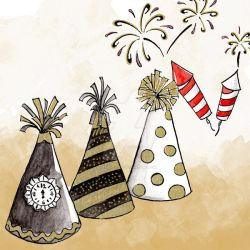 Hats And Fireworks Colour New Year Clipart by GirlinDesign
