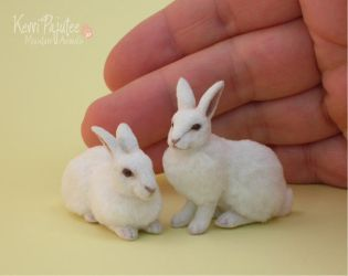 Miniature White Rabbit Sculptures by Pajutee