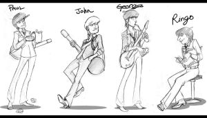 If I made a Beatles cartoon... by Crispy-Gypsy