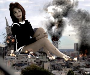Mega Giantess Jacqueline Bisset - Kicking Back by GiantessStudios101