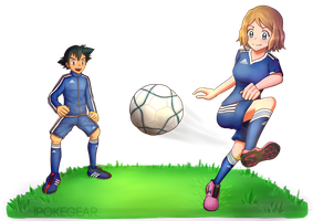[COMM] Serena and Ash Playing Soccer by ipokegear