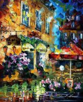 Cafe In Berlin by Leonid Afremov by Leonidafremov