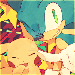 Pikachu and Sonic by Baitong9194