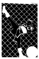 Chun Li Cage Kick By Tom Kelly by TomKellyART