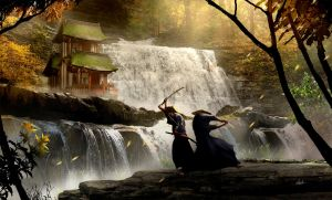 Samurai Showdown near a Water Fall by umbatman