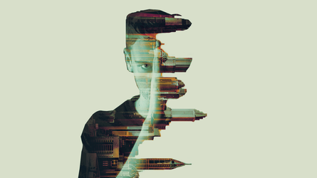 Building and boy (double exposure) by ButterflySD