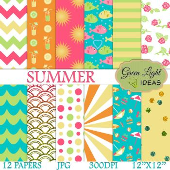 Summer Digital Papers by GreenLightIdeasGLI