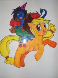 Nightcrawler and Applejack by Halcenion