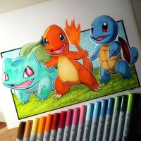 Charmander, Squirtle + Bulbasaur - Pokemon Drawing by LethalChris