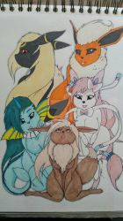 Eevee and evolutions by LilleJah