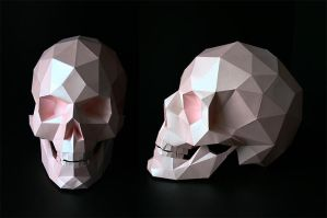 Human Pink  Skull Papercaft by paartisan