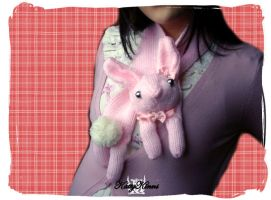 Pink Bunny Rabbit Scarf by Cateaclysmic