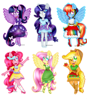 The Mane 6 New Outfits by KatieThePonyArtist