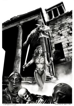 Wonder Woman and Typhoeus in Hades by dimitriskoskinas