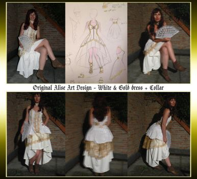 Original Dress Design - White and Gold by Alise-Art
