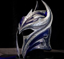 Sapphire Knight Leather Helmet by Azmal