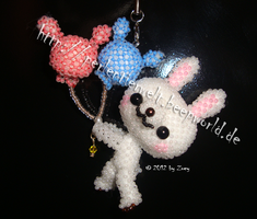 little bunny with balloons made of beads by Zoey-01