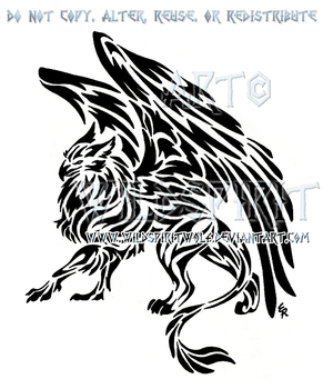 Tribal Gryphon Tattoo by WildSpiritWolf