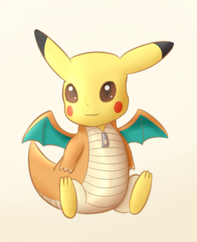 Pikachu in Dragonite costume by PonyLumen
