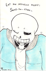 Sans-too-close -+- Undertale / Secret Sant'art by Mikukearu-Kansan